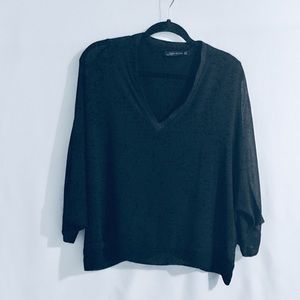 Zara Woman V-Neck Layered Wide Sleeve Blouse Top